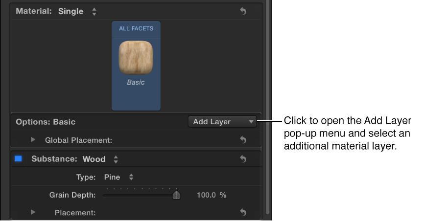 """3D-Textinformationsfenster mit dem Einblendmenü """"Ebene hinzufügen""""."""