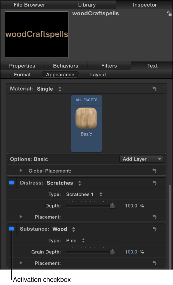 3D-Textinformationsfenster mit Aktivierungsfeld für eine Materialebene.