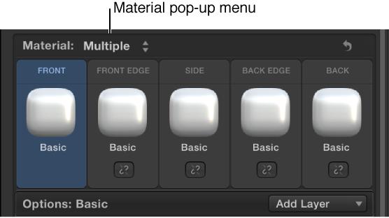 """3D-Textinformationsfenster mit dem Einblendmenü """"Material"""" und der Option """"Mehrfach""""."""