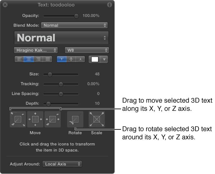Schwebepalette mit 3D-Text und ausgewähltem Werkzeug für die 3D-Anpassung.