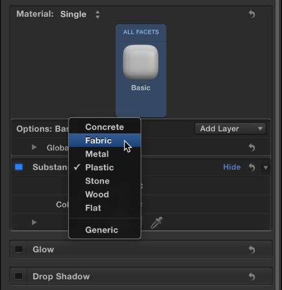 """3D-Textinformationsfenster mit dem Einblendmenü """"Substanz""""."""