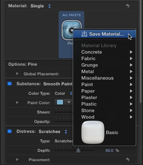 """3D-Textinformationsfenster mit der Option """"Material sichern"""" im Einblendmenü für vordefinierte Materialien."""