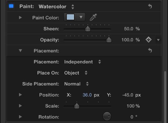"""3D-Textinformationsfenster mit Optionen für """"Platzierung""""."""