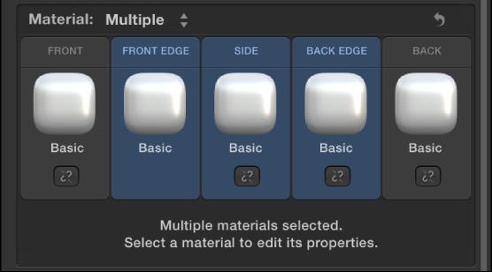 """3D-Textinformationsfenster mit der Option """"Material"""", die auf """"Mehrfach"""" eingestellt ist, und Steuerelementen zum Verknüpfen."""