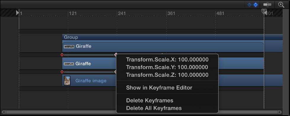 Keyframe-Kontextmenü, das die mit Keyframes versehenen Parameter am aktuellen Bild anzeigt.