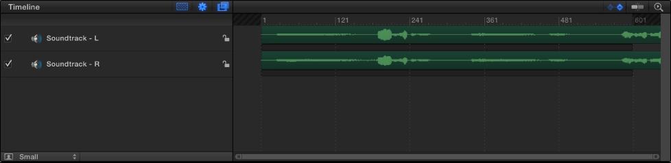 Audio-Timeline, die zwei Spuren enthält.