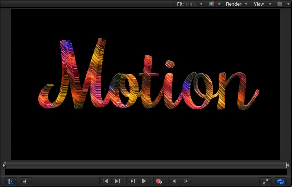 Beispiel für 3D-Text im Canvas mit angewendeter Materialebene für Bewegung.