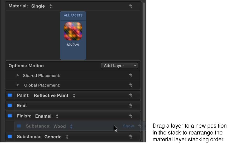 """Materialebene über eine andere Materialebene im Bereich """"Erscheinungsbild"""" des Informationsfensters """"Text"""" bewegen."""