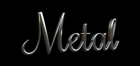 """3D-Text im Canvas mit angewendeter Metallsubstanz """"Aluminium""""."""