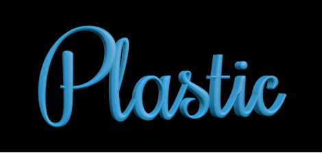 """3D-Text im Canvas mit angewendeter Plastiksubstanz """"Matt""""."""