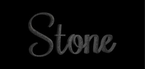 """3D-Text im Canvas mit angewendeter Steinsubstanz """"Dunkler Granit""""."""
