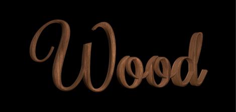 """3D-Text im Canvas mit angewendeter Holzsubstanz """"Walnuss""""."""
