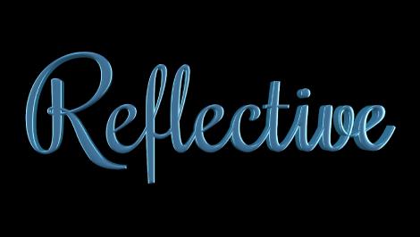 """3D-Text im Canvas mit angewendeter Ebene """"Reflektierende Farbe""""."""