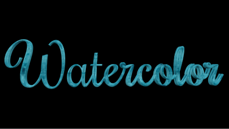 """3D-Text im Canvas mit angewendeter Farbebene """"Wasserfarbe""""."""