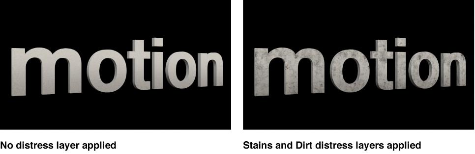 """3D-Text im Canvas ohne angewendete Alterungsebenen und mit angewendeten Alterungsebenen """"Flecken"""" und """"Staub""""."""
