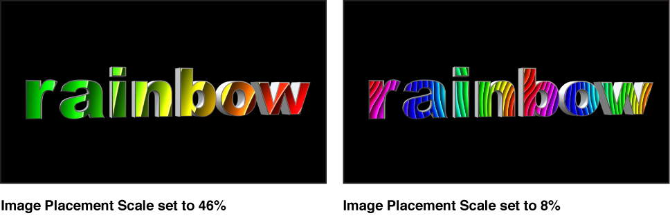 Canvas mit 3D-Text mit zugeordnetem Bild mit Skalierung von 80 % und zugeordnetem Bild mit Skalierung von 22 %.