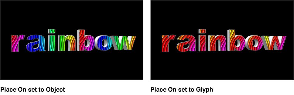 """Canvas mit 3D-Text mit dem Parameter """"Platzieren auf"""" des zugeordneten Bilds auf """"Objekt"""" und auf """"Glyphe"""" eingestellt."""