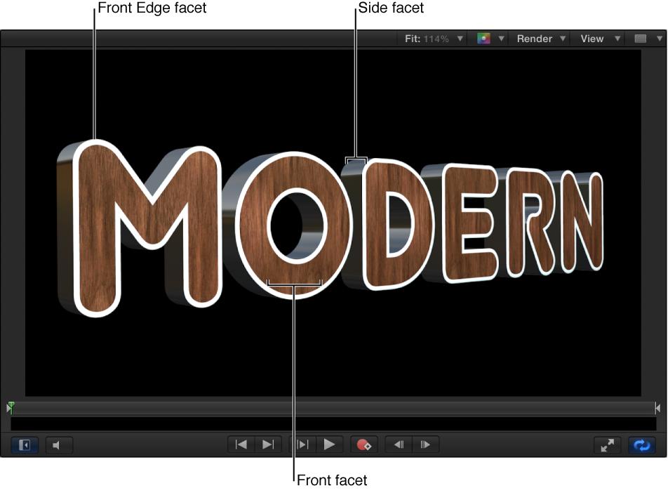 3D-Text im Canvas mit weißer Vorderkantenfacette, metallener Seitenfacette und hölzerner Vorderseitenfacette.