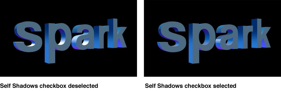 """3D-Text im Canvas mit deaktiviertem und aktiviertem Markierungsfeld """"Eigener Schatten""""."""