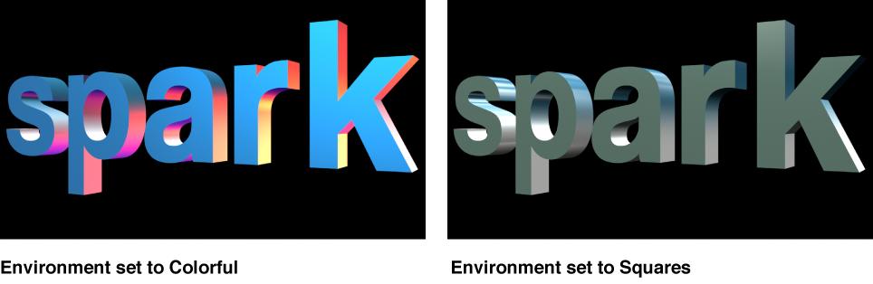 """Canvas mit 3D-Text mit """"Farbenfroh"""" und """"Quadrate"""" für """"Umgebung""""."""