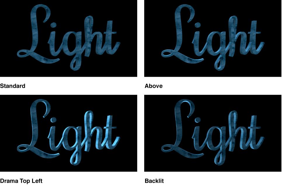 """Canvas mit 3D-Textobjekt mit der Beleuchtungsart """"Standard"""", """"Oben"""", Drama-oben links"""" und """"Hintergrundbeleuchtet""""."""