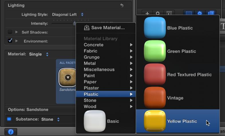 """""""Yellow Plastic"""" aus der Vorschauminiatur für das Material auswählen."""