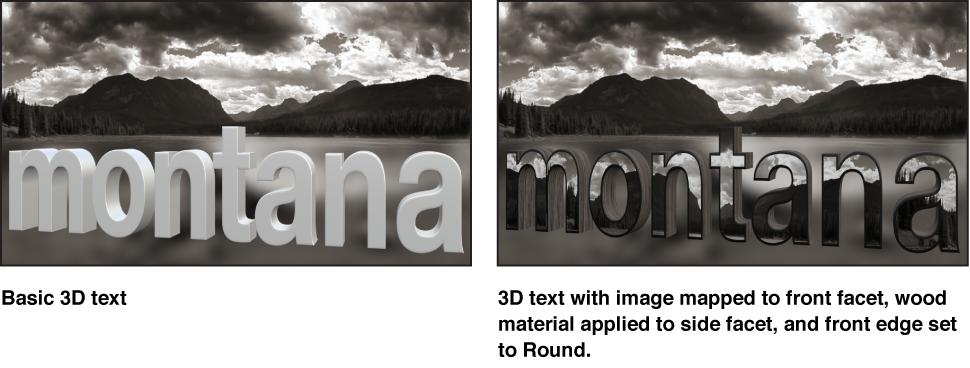 """Canvas mit einfachem 3D-Text sowie 3D-Text mit eigenem Bild auf der Vorderseitenfacette, Holz auf der Seitenfacette und """"Rund"""" für """"Vordere Kante""""."""
