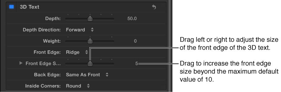 """Parameter """"Vordere Kante"""" im Bereich """"Erscheinungsbild"""" des Informationsfensters """"Text""""."""