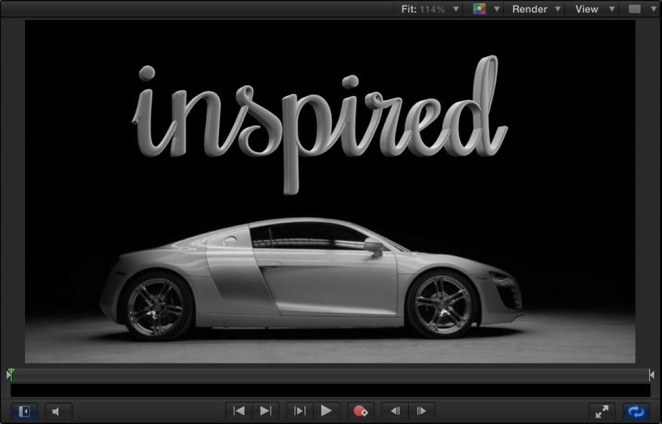 Canvas mit 3D-Text, der von oben beleuchtet wird, integriert in das Hintergrundbild eines Autos, das ebenfalls von oben beleuchtet wird.