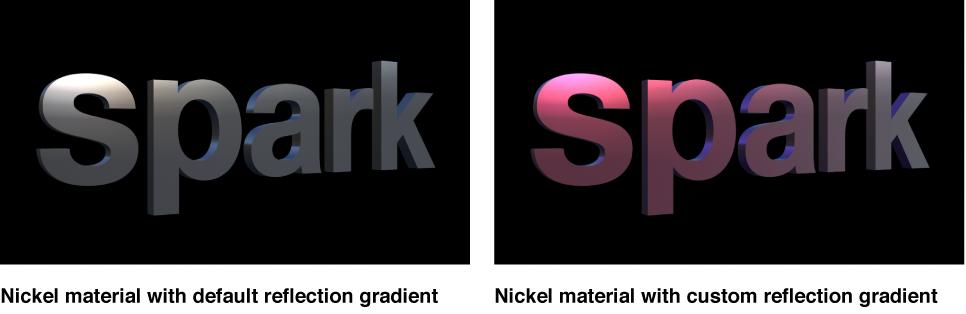 Canvas mit 3D-Text mit dem Standard-Nickelreflexionsverlauf und einem geänderten Nickelreflexionsverlauf.