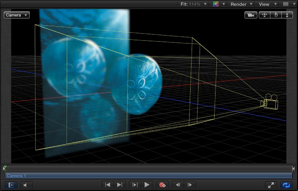 Canvas mit auf die Kamera abgestimmten Ebenen, die im 3D-Raum versetzt sind