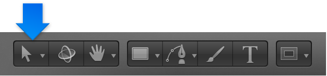 """Werkzeug """"Auswählen/Transformieren"""" in der Symbolleiste."""