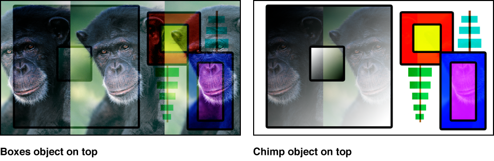 Canvas showing the boxes and the monkey blended using the Soft Light mode