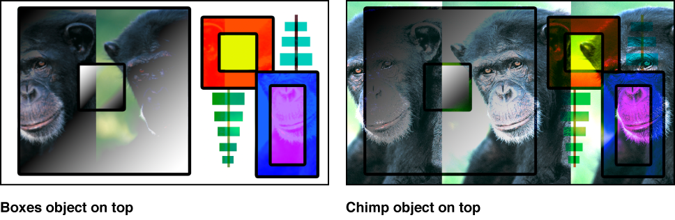 Canvas showing the boxes and the monkey blended using the Pin Light mode