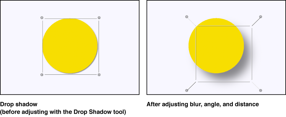 Canvas showing an object before its drop shadow is adjusted and the object as its drop shadow is being manipulated