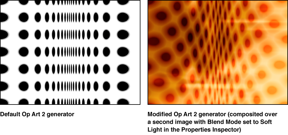 Canvas showing Op Art 2 generater alone and combined with another image