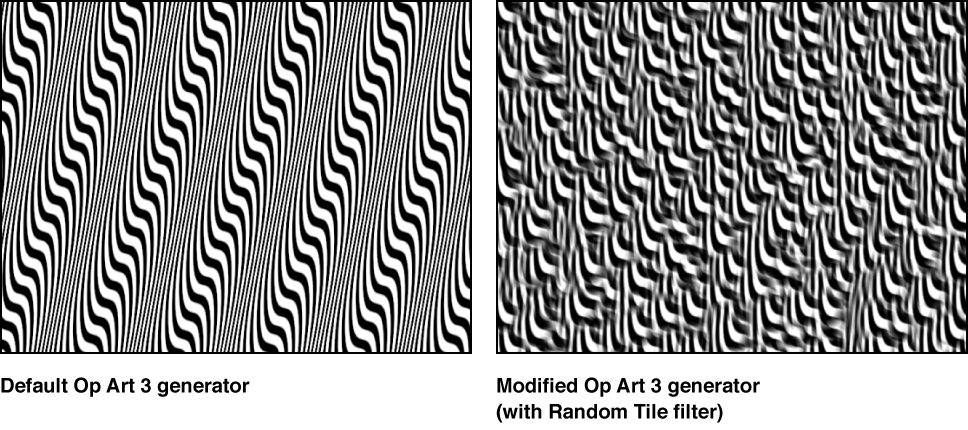 Canvas showing Op Art 3 generator alone and with Random Tile filter applied