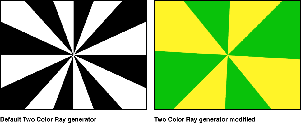 Canvas showing Two Color Ray generator with a variety of settings