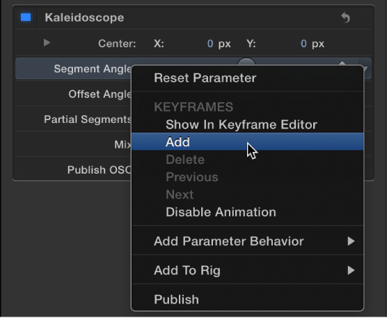 Choosing Add from the Animation menu for a filter parameter