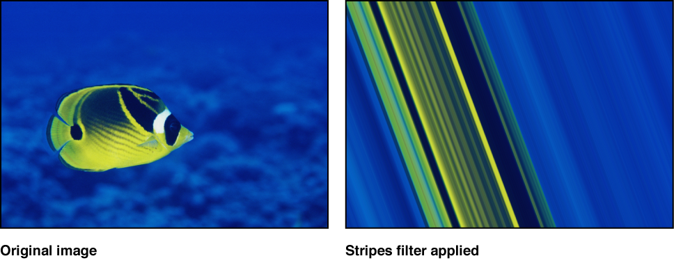 Canvas showing effect of Stripes filter