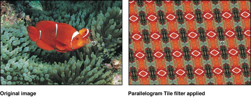 Canvas showing effect of Parallelogram Tile filter