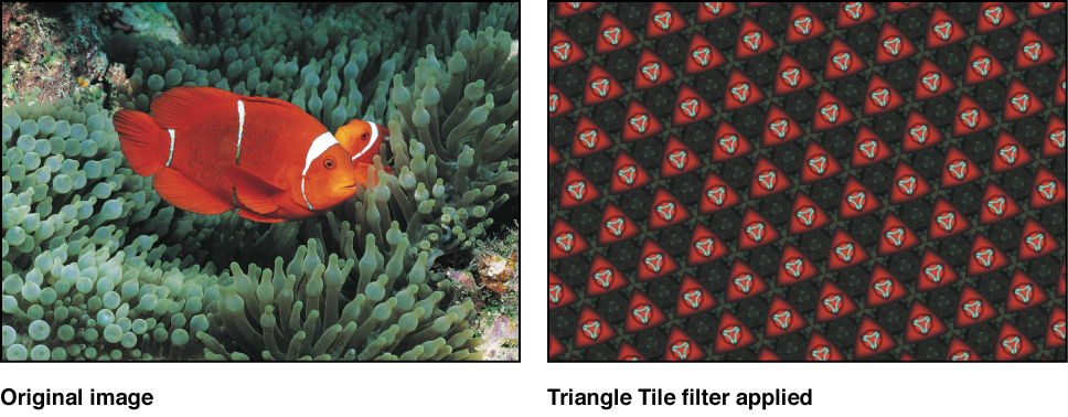 Canvas showing effect of Triangle Tile filter