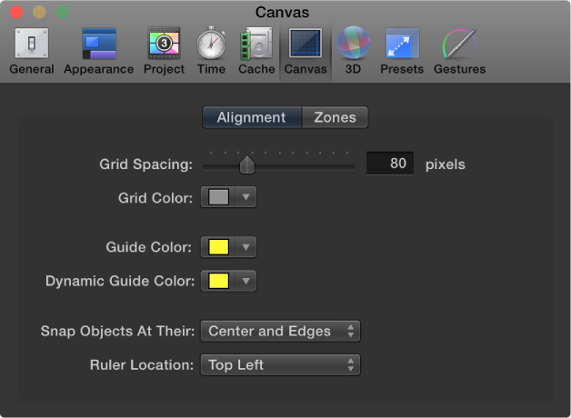 Motion Preferences window showing Canvas Alignment pane