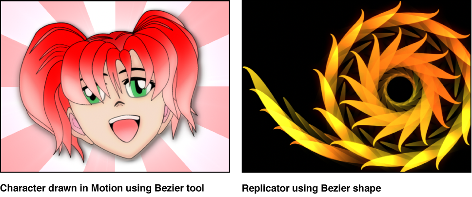 Examples: character drawn using Bezier tool; Replicator created using Bezier shape