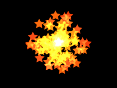 Canvas showing particle system with shape set to Point