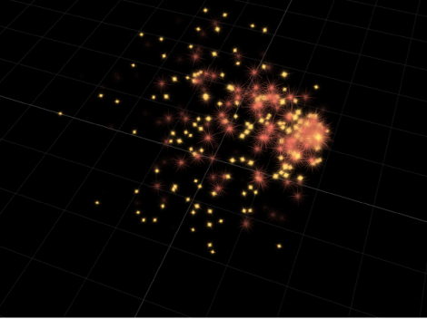 Canvas showing particles moving in 3D space