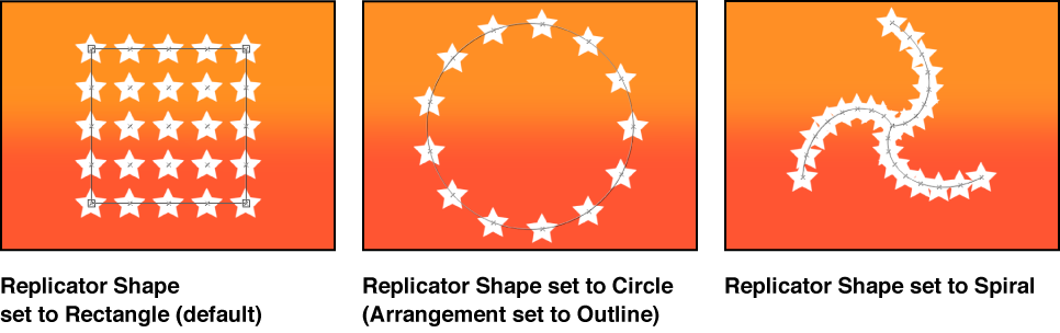 Canvas showing three different replicator shape options