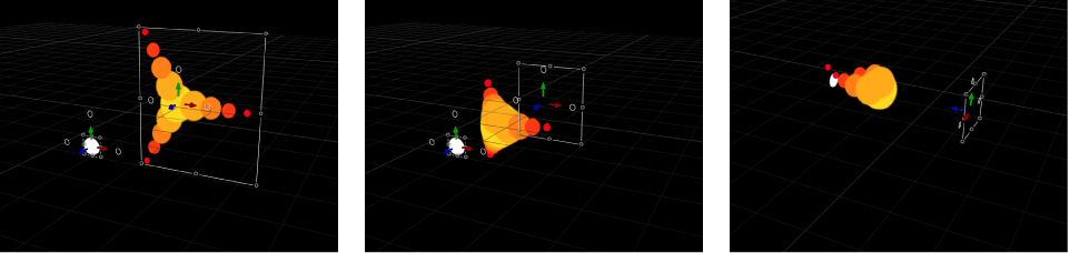 Canvas showing replicator in which pattern elements move toward another object (with the Attracted To simulation behavior applied) in 3D space