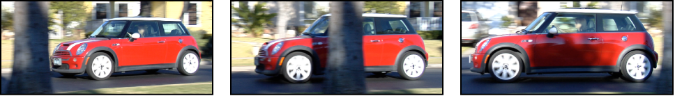 Sequential images of car passing behind tree