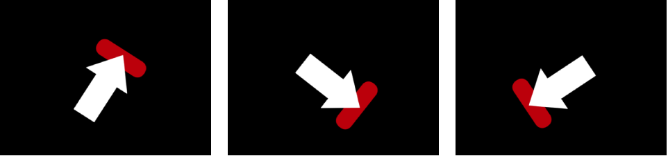 Canvas showing arrow and red shape moving as single object